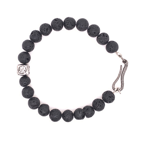 Integrity Bracelet in Black Lava, Silver