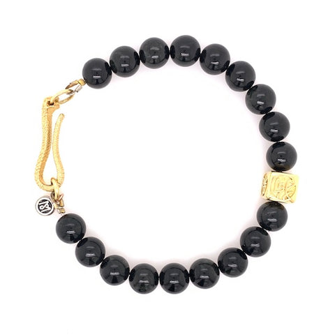 Integrity Bracelet in Black Jade, Gold