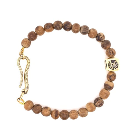 Integrity Bracelet with 18ct Yellow Gold Snake Clasp and Mandarin character charm.