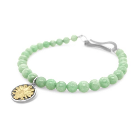 Tree of Life Bracelet Natural Jade Silver, Yellow Gold
