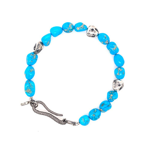 Nugget Bracelet in Turquoise, Silver.