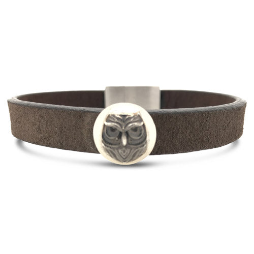 Owl Leather Cuff Brown