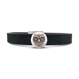 Owl Leather Cuff Black
