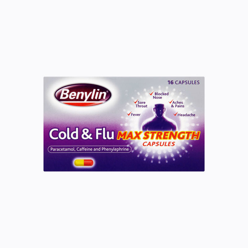 Benylin Cold And Flu Max Strength Capsules – 16 Capsules