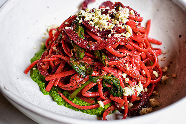 Rawcology Inc | Red Beet Pasta with Pistachio Pesto
