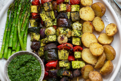 BBQ Vegetables with Green Goddess Herb Sauce