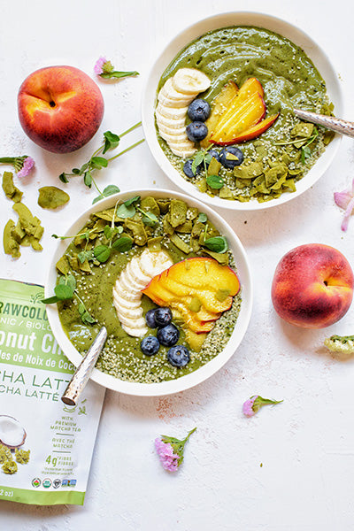 Rawcology Inc| Matcha Peach Smoothie Bowls