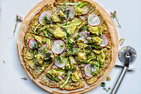 Racology Inc | Gluten Free Vegan Asparagus and Potato Pizza