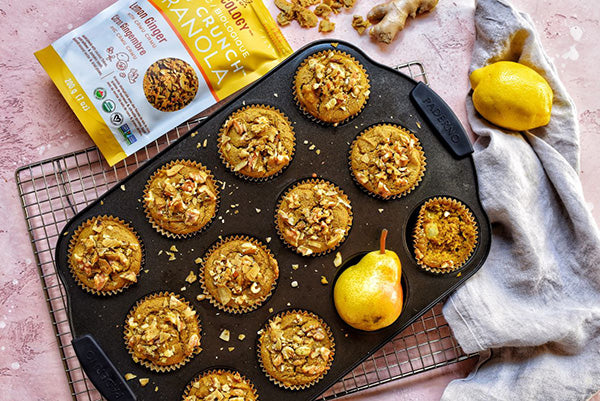 Rawcology Inc | Turmeric Lemon Ginger Pear Muffins