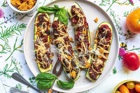 Plant Based Recipe Rawcology Zucchini Pizza Boats