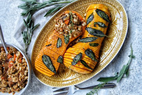 Rawcology Hasselback Squash with Butter Sage Sauce