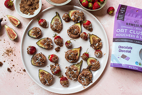 Chocolate Yogurt Dipped Strawberries & Figs with Chocolate Oat Clusters with Probiotics