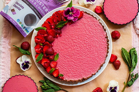 Plant Based Strawberry Tart with Rawcology Chocolate Oat Clusters with Probiotics