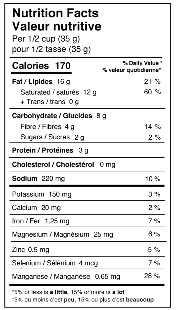 Rockin' Ranch Superfood Coconut Chips Nutrition Facts Table