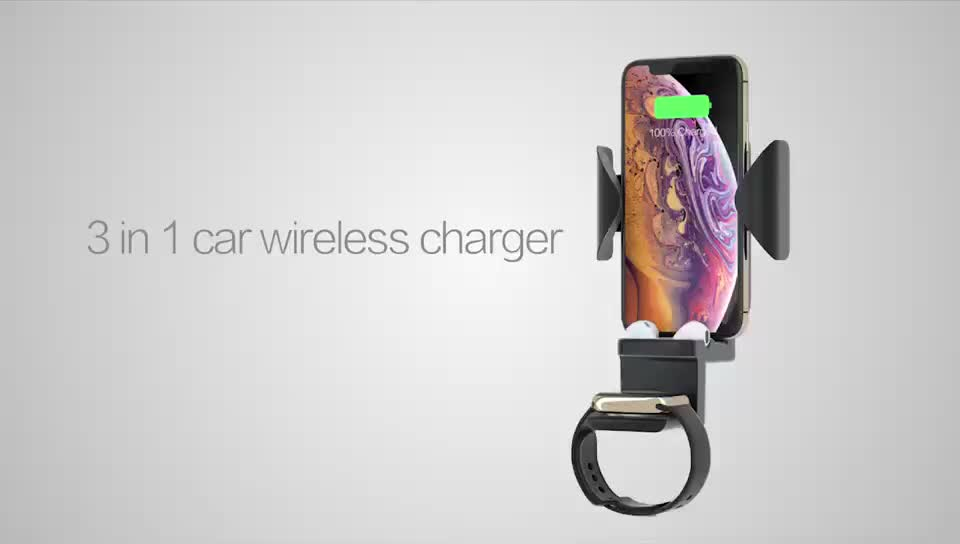3 in 1 Fast Charging Dock Wireless Car Charger & Phone Holder