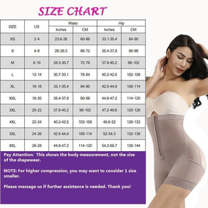 high waist shapewear size chart by The Metro Box Store