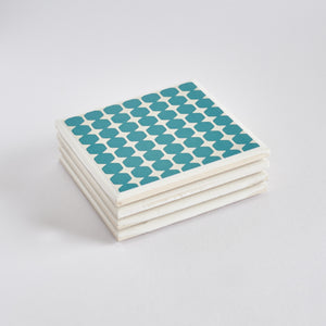 Teal Geometric Tile Coaster Set by Yellow Room Designs