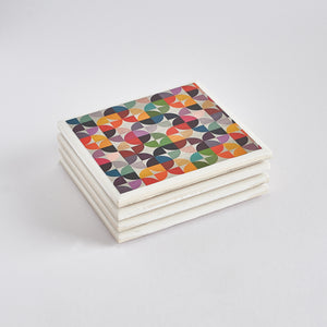 Rainbow Pop Tile Coaster Set by Yellow Room Designs