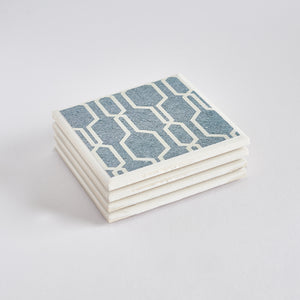Denim Geometric Tile Coaster Set by Yellow Room Designs