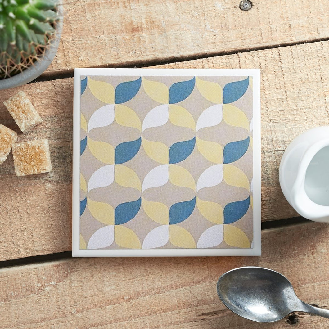 Retro Geometric Single Coaster - Yellow Room Designs