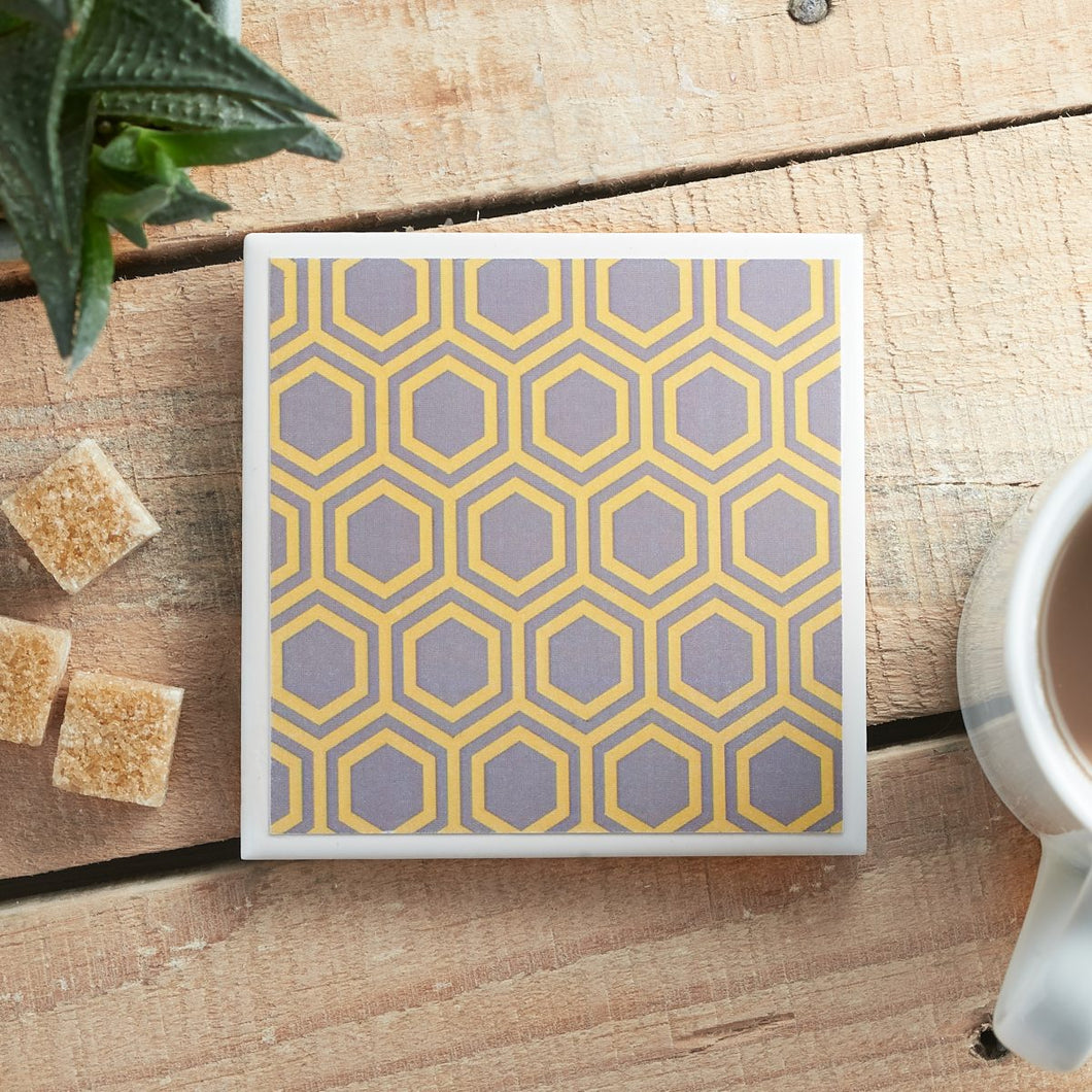 Honeycomb Grey Coaster - Yellow Room Designs