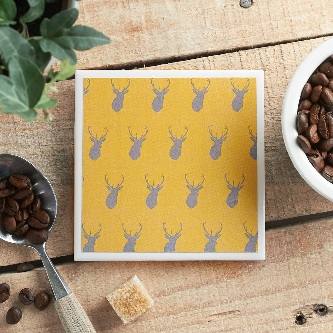 Yellow Stag Coaster - Yellow Room Designs