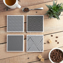 Load image into Gallery viewer, Monochrome Coaster Set - Yellow Room Designs
