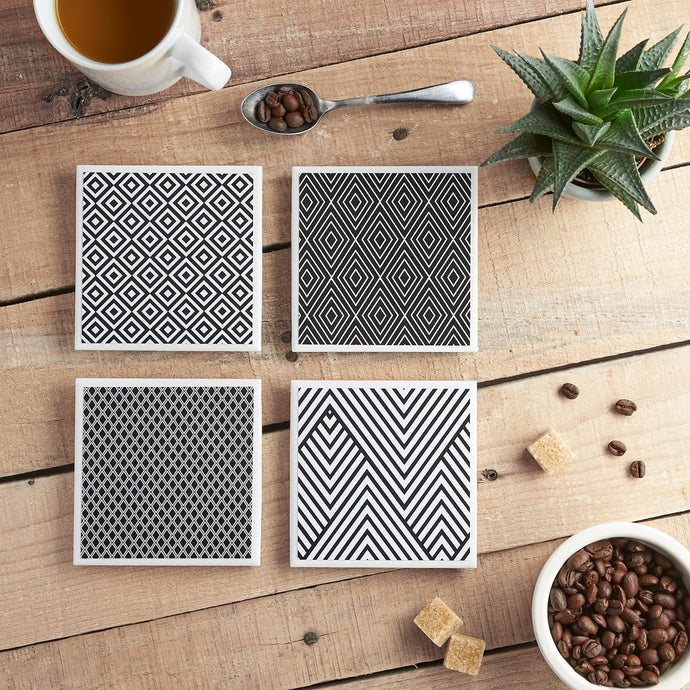 Monochrome Coaster Set - Yellow Room Designs