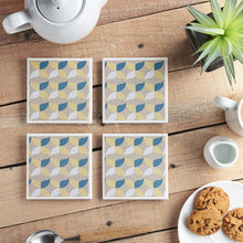 Load image into Gallery viewer, Retro Geometric Coaster Set - Yellow Room Designs
