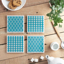 Load image into Gallery viewer, Teal Geometric Coaster Set - Yellow Room Designs