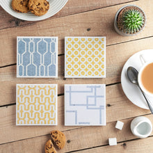 Load image into Gallery viewer, Denim Geometric Coaster Set - Yellow Room Designs