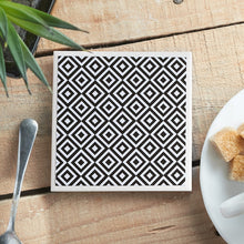Load image into Gallery viewer, Monochrome Medium Diamond Coaster - Yellow Room Designs