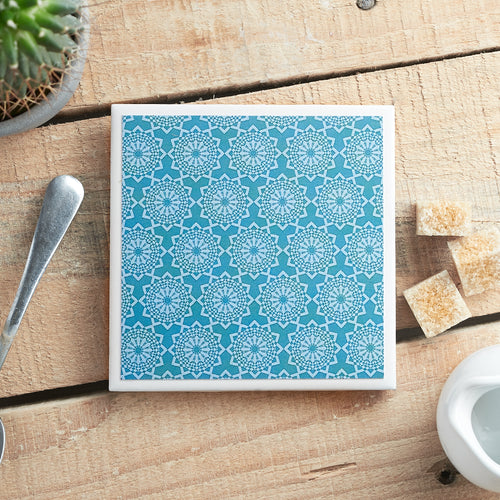 Teal Lace Single Coaster - Yellow Room Designs