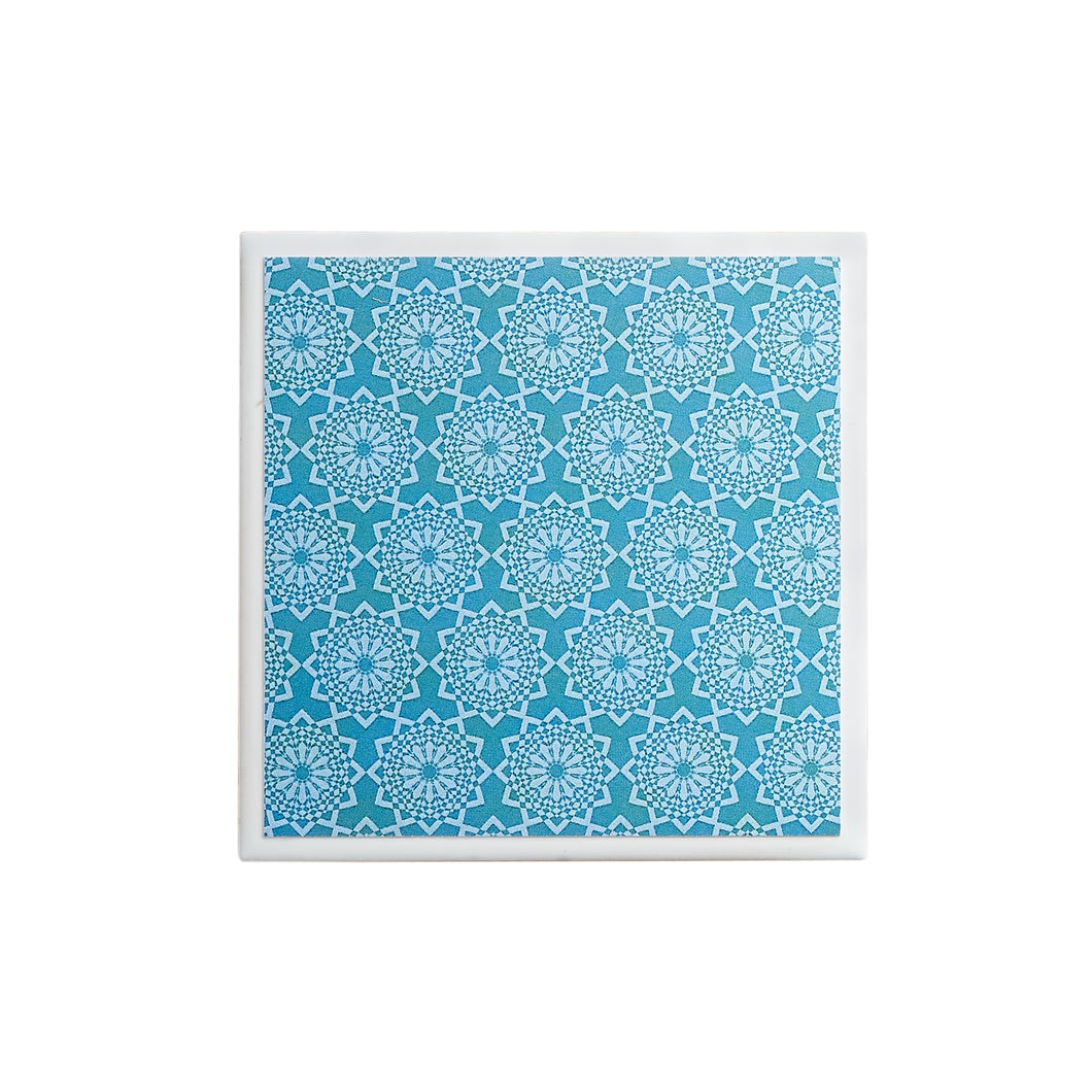 Teal Lace Single Coaster