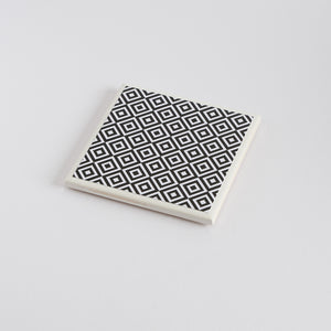 Monochrome Medium Diamond Coaster Mini Gift Set - Yellow Room Designs