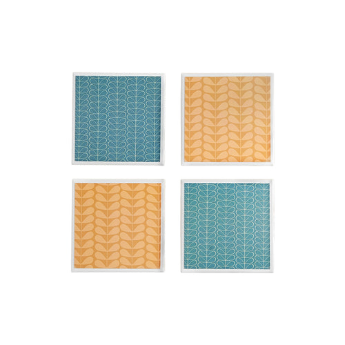 Gift set of 4 ceramic coasters with a Mid-Century Modern flower design in green and orange by Yellow Room Designs
