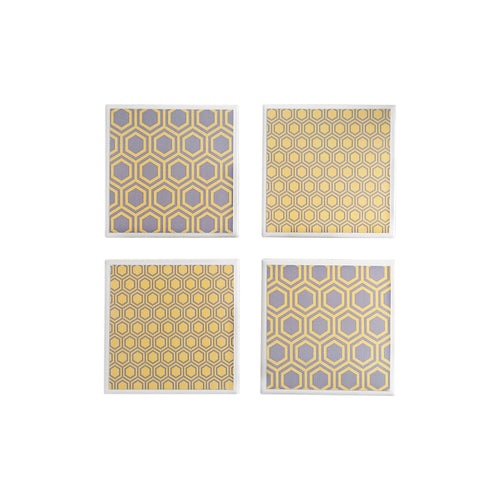 Gift set of 4 ceramic coasters in a grey and yellow honeycomb design by Yellow Room Designs