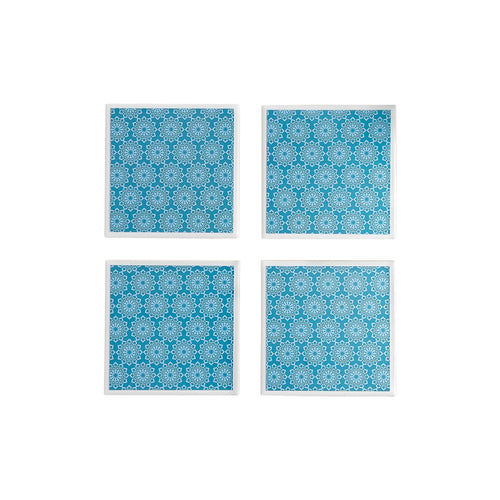Gift set of four ceramic coasters with a teal lace pattern - Yellow Room Designs