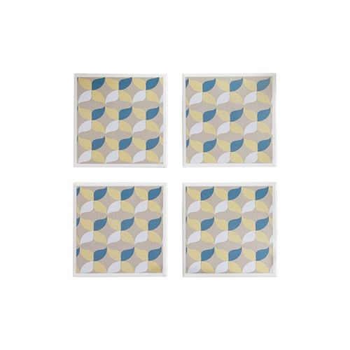 Gift set of four ceramic coasters with a retro geometric pattern in muted tones - Yellow Room Designs