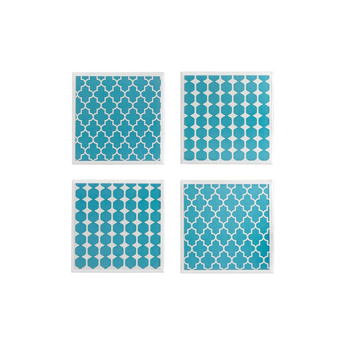 Gift set of 4 ceramic coasters with a teal geometric design by Yellow Room Designs