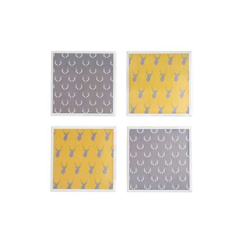 Gift set of four ceramic coasters in grey and mustard with a stag pattern - Yellow Room Designs