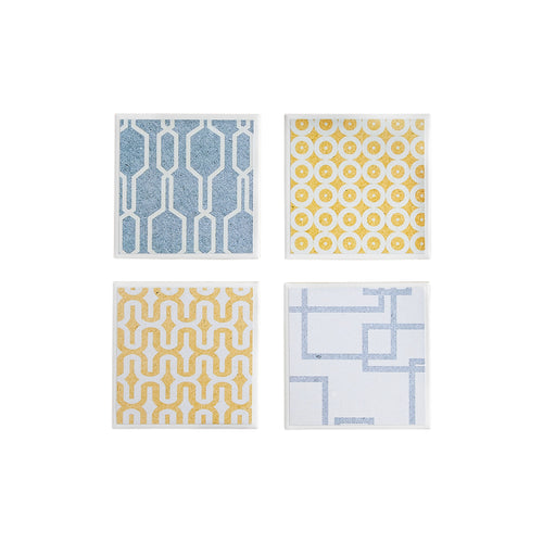 Gift set of 4 coasters with grey and yellow geometric design by Yellow Room Designs.