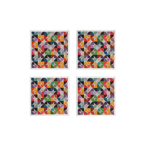 Gift set of 4 ceramic coasters with multicoloured rainbow geometric design by Yellow Room Designs