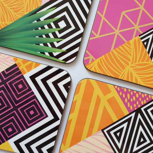 Colourful geometric wooden coasters