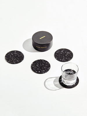 Round Rubber Coasters in Black (Set of 4)