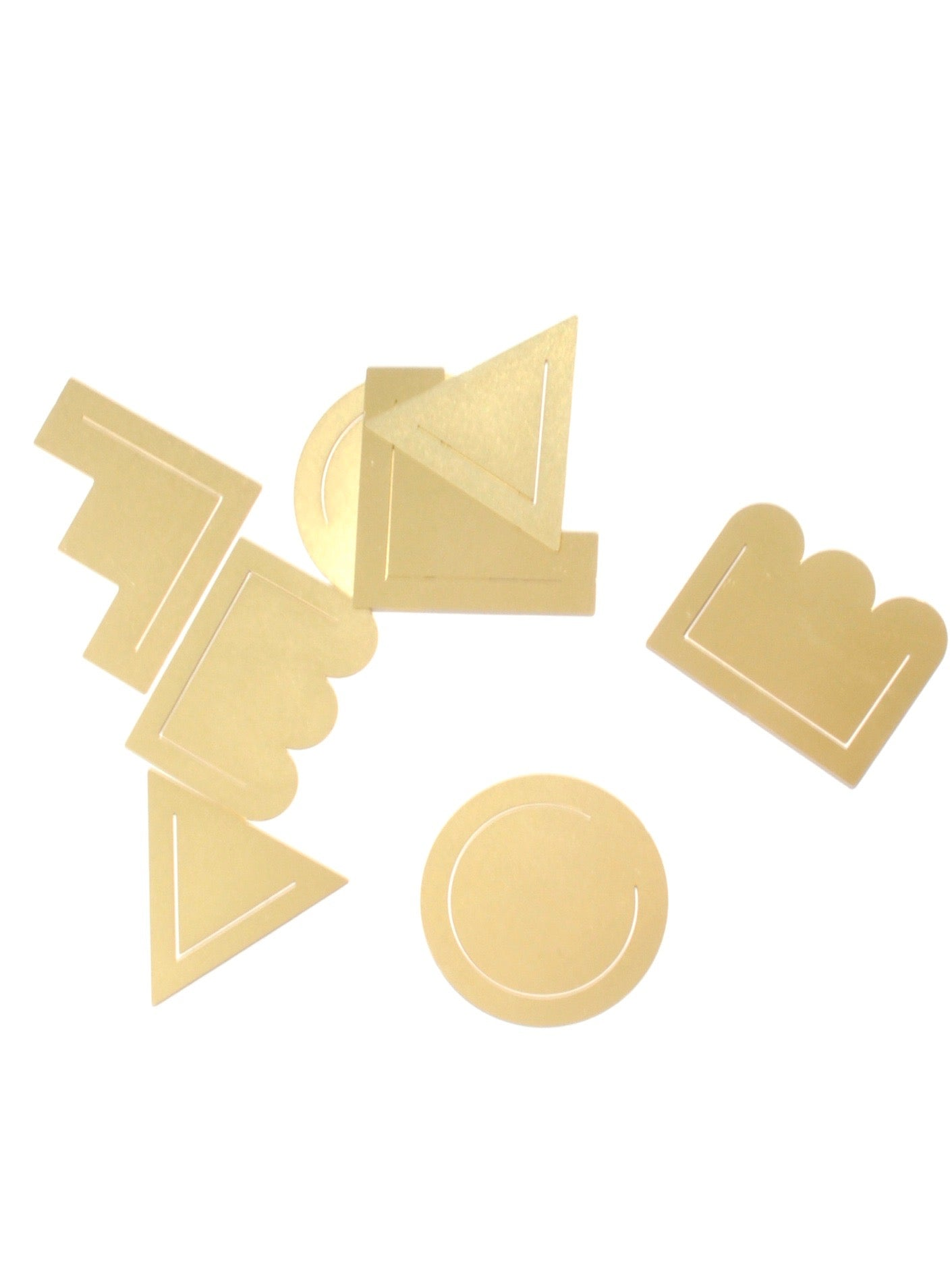 Brass Clips Set of 8 in Geometric
