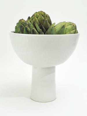 White Ceramic Pedestal Bowl