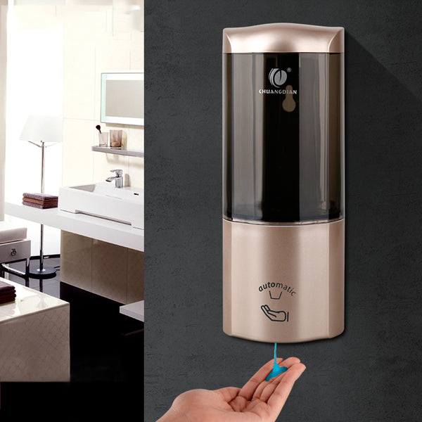 Touchless Automatic Soap Dispenser Upscale Wall-mounted Type Hotels Bathroom Kitchen Shampoo Box Lotion Bottles Detergent Bath Soap Box (White)