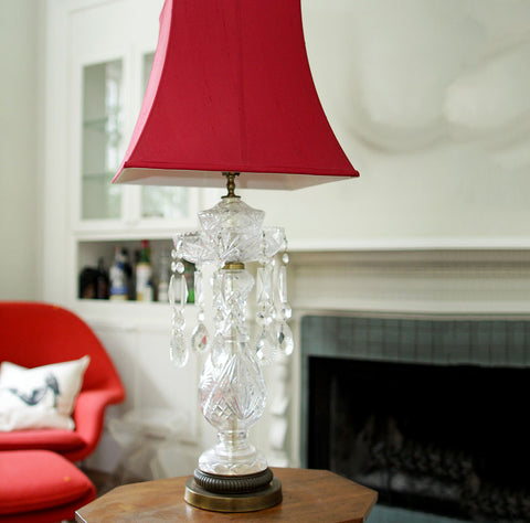 Crystal Lamp with Red Shade