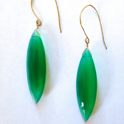 Green Onyx Giant Marquis Earrings